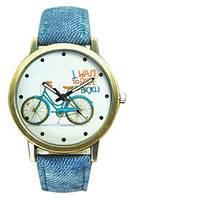 Модные женские часы с велосипедом, ремешок силиконовый