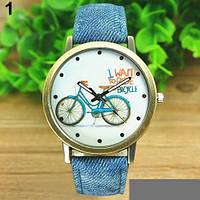 Модные женские часы с рисунком велосипед