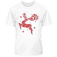 Новогодняя футболка с оленем