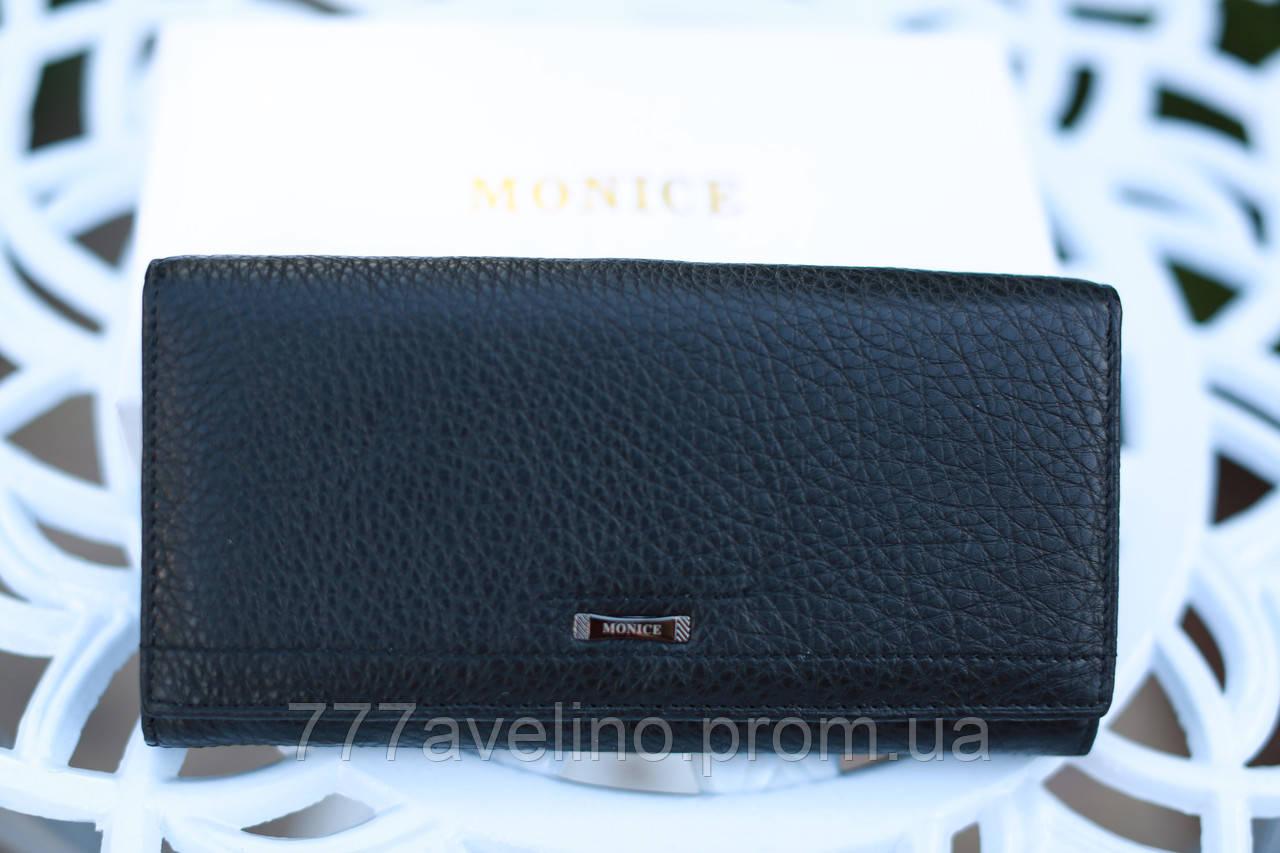 Женский кожаный кошелек черный модный