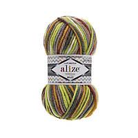 Зимняя пряжа для  вязания  Alize Superlana Maximulticolor (суперлана мультиколор) толстая  пряжа 52149