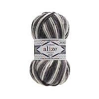Зимняя пряжа для  вязания  Alize Superlana Maximulticolor (суперлана мультиколор) толстая  пряжа 52152