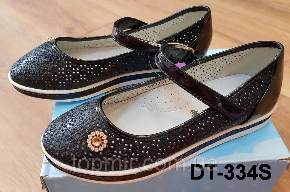 2ad16030f Черные детские туфли с перфорацией для девочки в школу : продажа ...