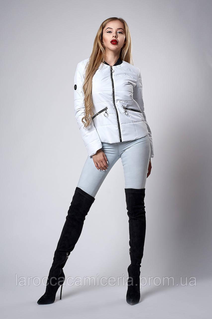 Женская молодежная демисезонная куртка. Код модели К-116-36-18. Цвет белый.