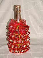 """Новогоднее шампанское с конфетами""""Елочка с конфетами гранд-прикс""""оранжевая"""
