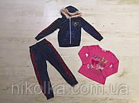Велюровый костюм-тройка для девочек оптом, Seagull, 4-12 лет, арт. CSQ-52114, фото 2