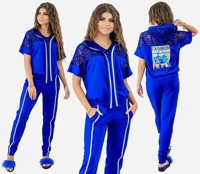 """Женский спортивный костюм """"Fashion"""". Электрик, 3 цвета. Р-ры: 42,44,46."""