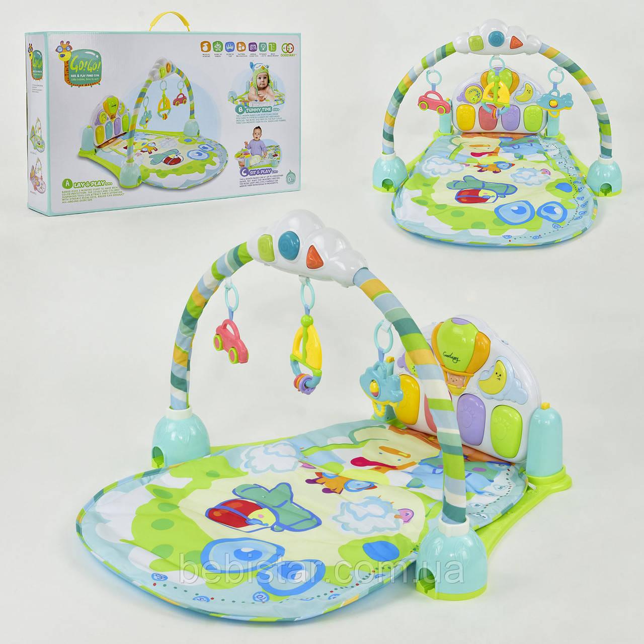 Коврик-развивашка мятный для младенцев музыкальный с погремушками