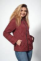 Женская демисезонная куртка. Код модели К-120-37-20. Цвет марсала.