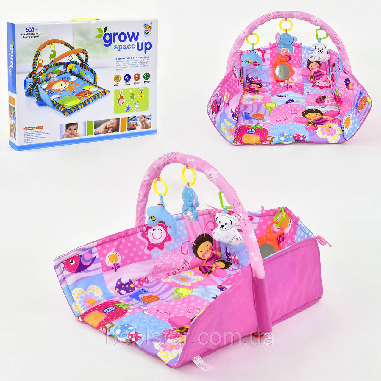 Коврик игровой розовый с мягкой дугой с подвесными игрушками