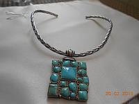 Комплект из иранской бирюзы в серебре: колье, кольцо и браслет, фото 1