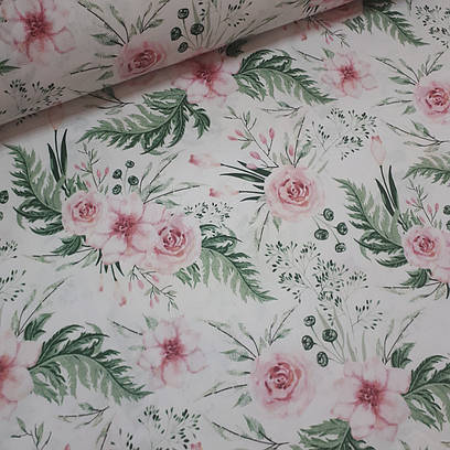 Ткань польская хлопковая, розовые цветы с зелеными листьями на белом
