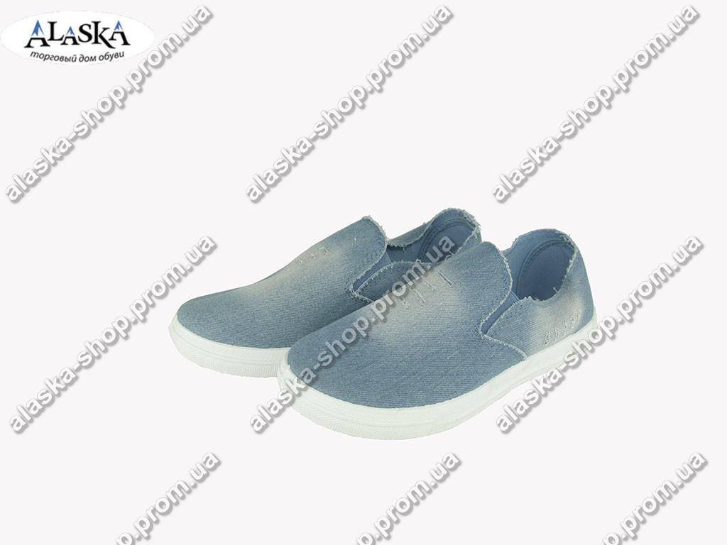 Женские слипоны  (Код: KR-008 Крок джинс )