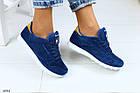 Женские синие кроссовки из натуральной замши