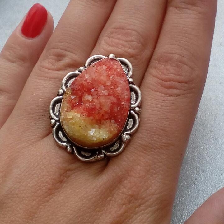 Друза кольцо с натуральной друзой в серебре 18 размер