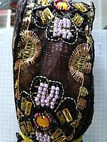 Тесьма декоративная органза с бисером 5 см 9 м  черная