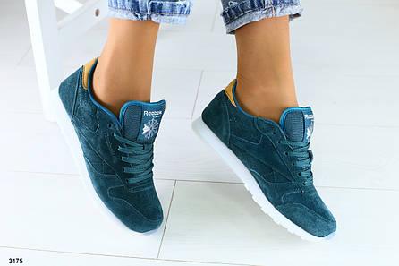 Женские изумрудные кроссовки из натуральной замши