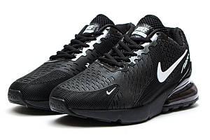 Кроссовки весна-осень Nike Air 270 (Найк Аир 270) мужские черные с белым значком - реплика