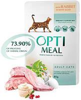 Optimeal Adult Cat с кроликом в белом соусе, 12 шт
