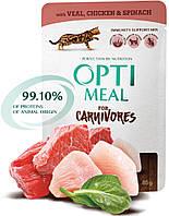 Optimeal Adult Cat с телятиной и курицей в шпинатном соусе, 12 шт