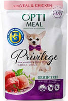 Optimeal Privilege Adult Dog с телятиной и курицей в соусе, 1 шт