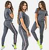 Женский спортивный костюм с лентой. Серый, 3 цвета. Р-ры: 42,44,46.