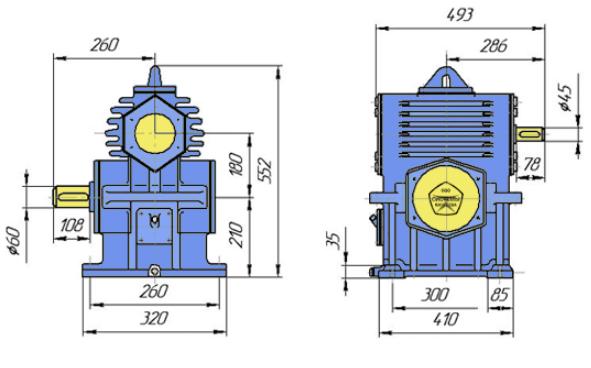 Габаритные размеры редуктора РЧН-180 чертеж