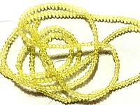 Бусина стекло, гранёнка, хрусталь, прозрачный, желтый, 2 мм