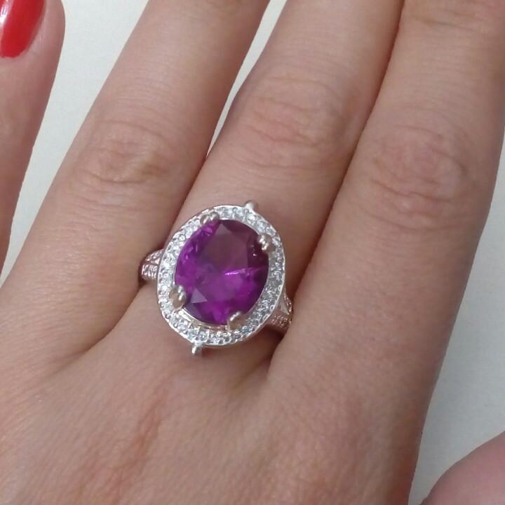 Кварц аметист кольцо с кварцем в серебре 19 размер