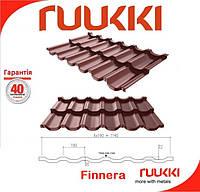Модульная металлочерепица Finnera коричневая ® Ruukki 0,52 мм .