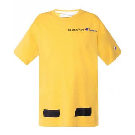 Футболка Off White Champion Arrows T-Shirt (Yellow)  мужская,женская,детская, фото 2