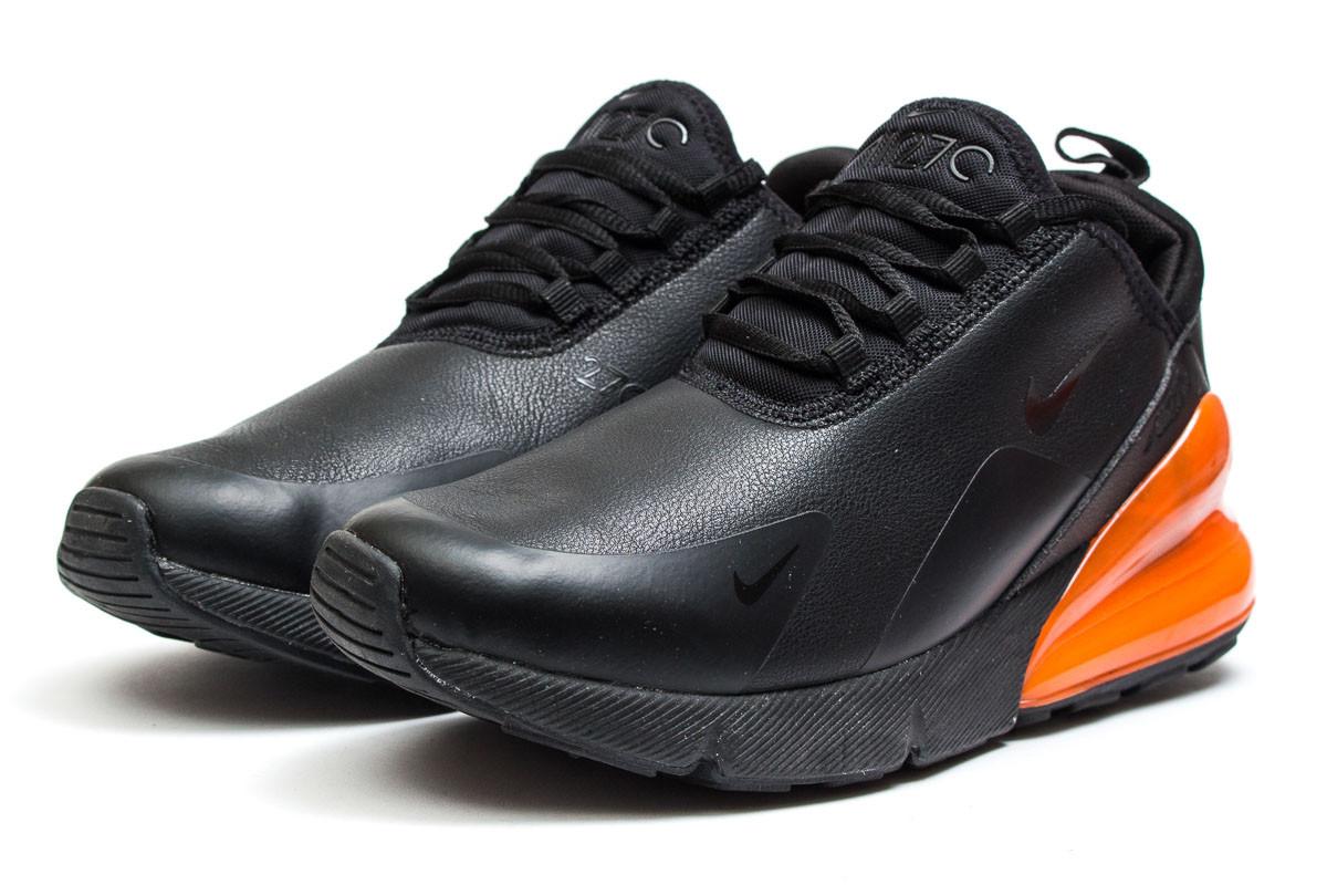 6326479353e2 Мужские модные кроссовки Nike Air 270 (Найк Аэр) на осень черные с оранжевой  вставкой