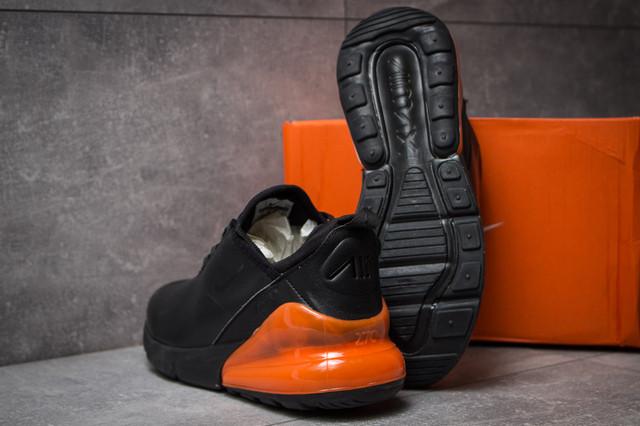 c900f0fb4e9e Мужские модные кроссовки Nike Air 270 (Найк Аэр) на осень черные с оранжевой  вставкой на подошве
