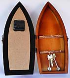 Ключница Корабль на 6 крючков с часами, фото 2