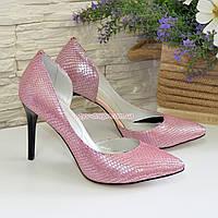 """Женские кожаные туфли на шпильке, цвет розовый с тиснением """"питон"""", фото 1"""
