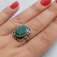 Изумруд кольцо с натуральным изумрудом в серебре 18 размер Индия, фото 1