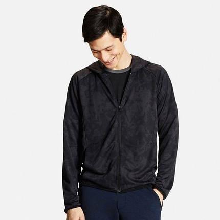 Кофта Uniqlo Men Dry EX Printed Full-Zip Hoodie BLACK, фото 2
