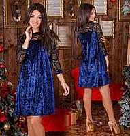 80d29c74223 Женское велюровое свободное платье выше колен со вставкой из кружева