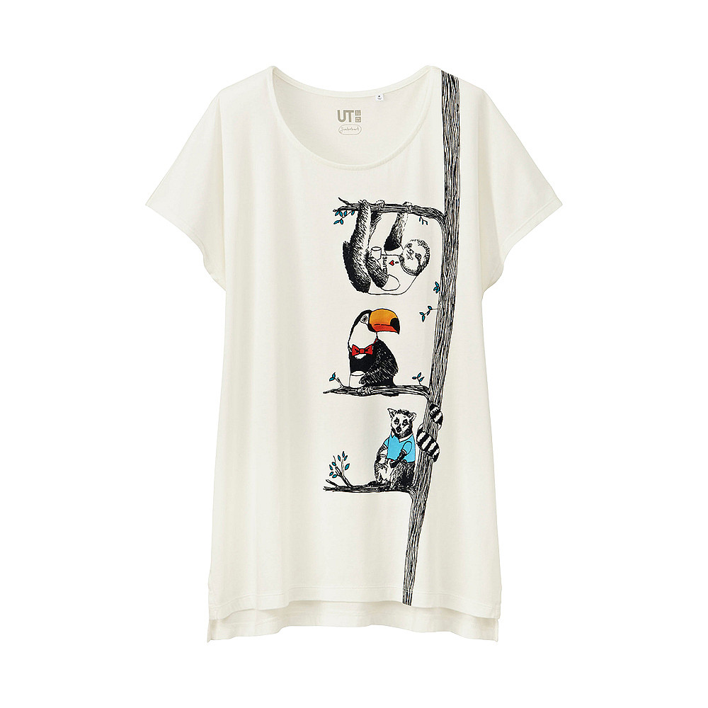 Футболка Uniqlo Women Jimbobart graphic Tree WHITE