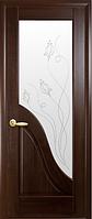 Двери Амата Со стеклом сатин и рисунком Р2 Каштан