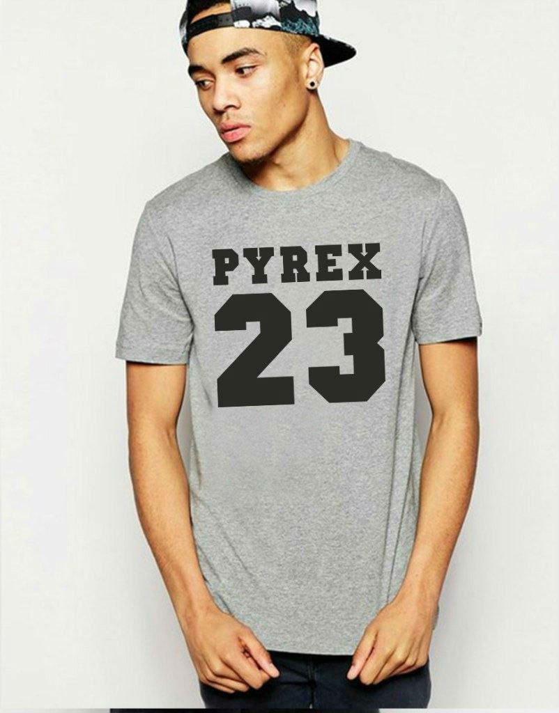 Мужская футболка серая с принтом, Pyrex 23(реплика)
