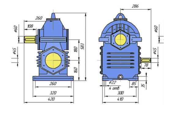 Габаритні розміри редуктора РЧП-180 креслення