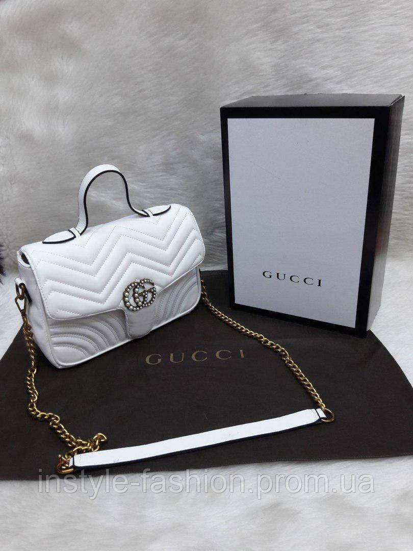 ad312c734469 Сумка-клатч на цепочке с ручкой Gucci Гуччи белая: купить недорого ...