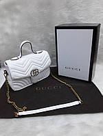 Сумка-клатч на цепочке с ручкой Gucci Гуччи белая, фото 1