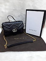 Сумка-клатч на цепочке с ручкой Gucci Гуччи черная