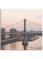 Фотокартина на холсте Закат на мосту, 100*100 см