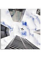 Фотокартина на холсте Самолет в небе, 100*100 см