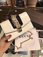 Женская брендовая сумка-клатч на цепочке Gucci Гуччи дорогой Китай белая
