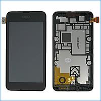 Дисплей (экран) для Nokia 530 Lumia с тачскрином в сборе, цвет черный, с передней панелью, оригинал
