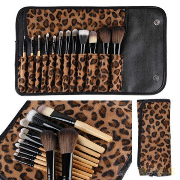 Набор из 12 кистей для макияжа в леопардовом чехле